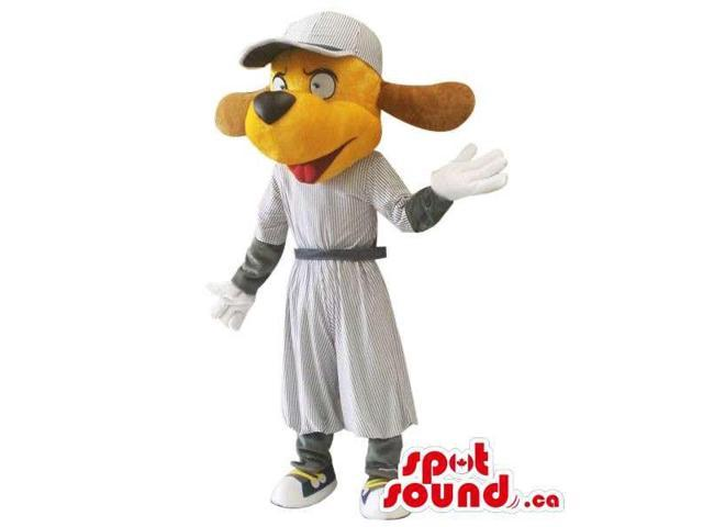 Cute Yellow Dog Plush Canadian SpotSound Mascot Dressed In A Long Grey Dress And A Cap