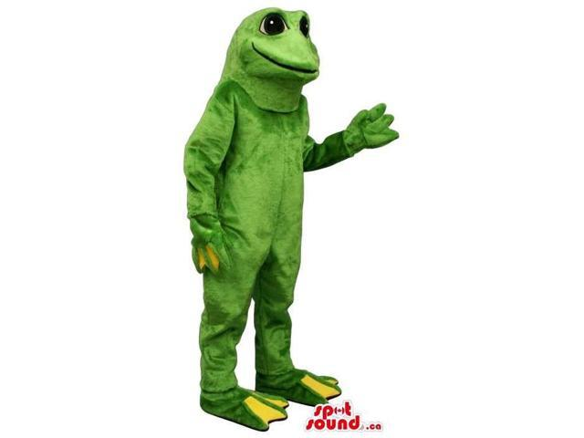 Customised Green Frog Plush Canadian SpotSound Mascot With Yellow Feet