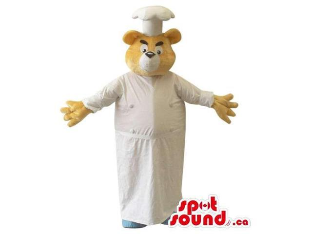 Yellow Bear Plush Canadian SpotSound Mascot Dressed In A Chef Hat And Dress