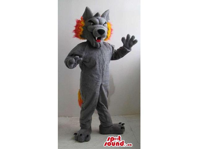 Grey Wolf Plush Canadian SpotSound Mascot With Fire Flames As Hair And Tail