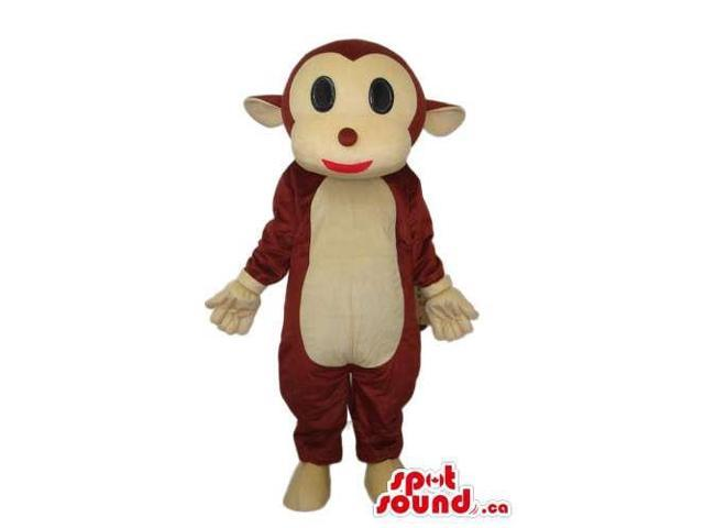 Fairy-Tale Cartoon Brown Monkey Plush Canadian SpotSound Mascot With A Beige Face