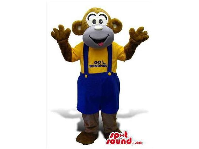 Brown Monkey Plush Canadian SpotSound Mascot Dressed In Blue Overalls And T-Shirt