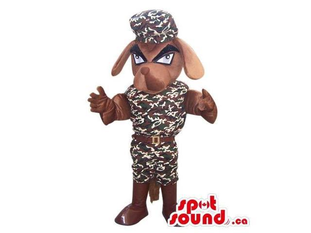 Brown Angry Dog Canadian SpotSound Mascot Dressed In A Camouflage Uniform