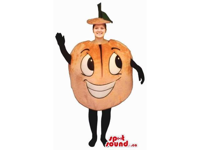 Orange Adult Size Costume Or Canadian SpotSound Mascot With A Peculiar Face