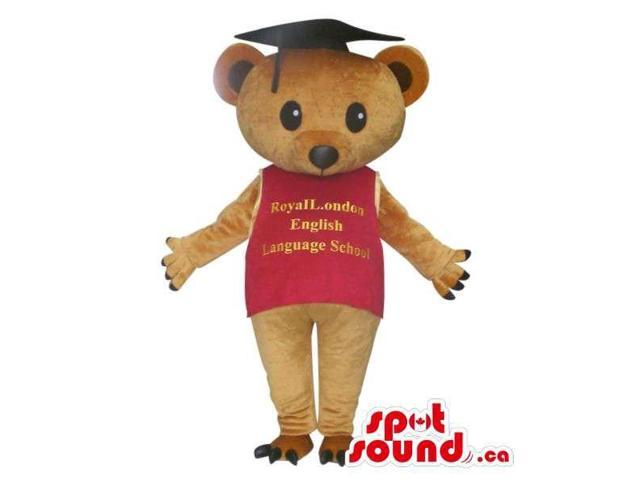 Bear Plush Canadian SpotSound Mascot Dressed In A T-Shirt With Text And School Hat