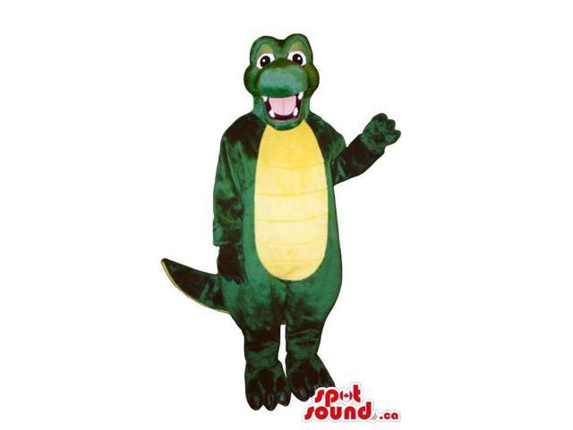 Green And All Yellow Alligator Jungle Animal Canadian SpotSound Mascot With Happy Face