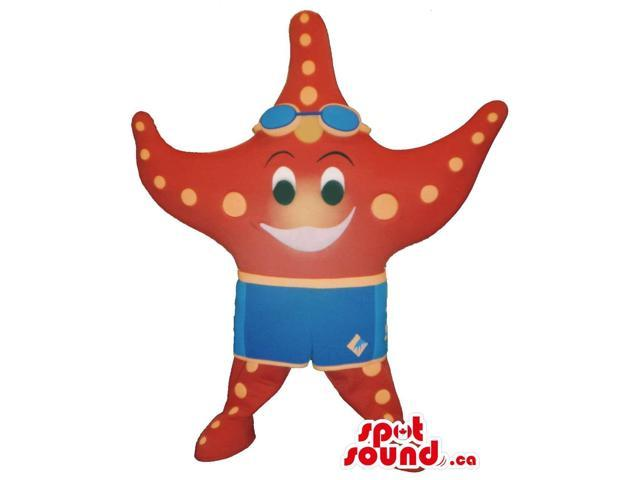 Peculiar Red Starfish Plush Canadian SpotSound Mascot Dressed In Swimming Clothes