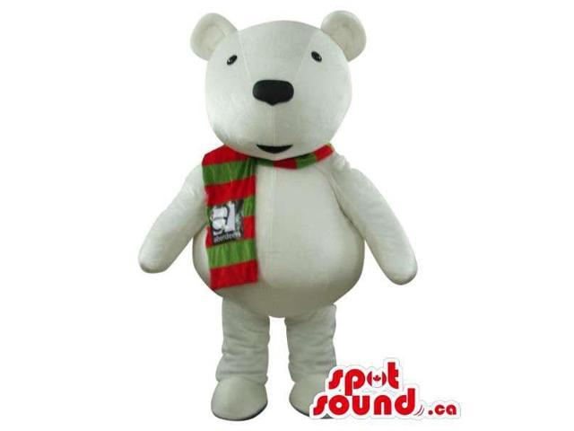 White Bear Plush Canadian SpotSound Mascot Dressed In A Red And Green Scarf With Logo