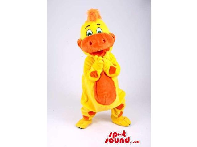 All Yellow Alligator Animal Plush Canadian SpotSound Mascot With An Orange Belly