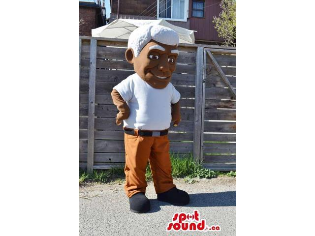 Man With White Hair Character Plush Canadian SpotSound Mascot Dressed In A T-Shirt