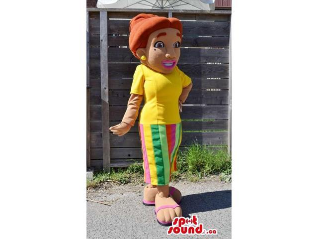 Orange-Haired Lady Plush Canadian SpotSound Mascot Dressed In A Flashy T-Shirt