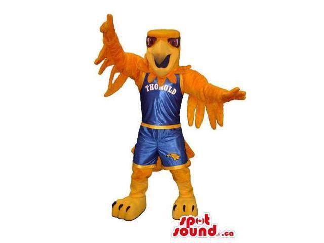 Orange Eagle Plush Canadian SpotSound Mascot Dressed In Blue Basketball Gear