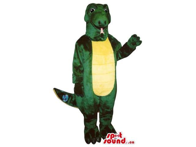 Great Green Lizard Reptile Canadian SpotSound Mascot With A Yellow Belly
