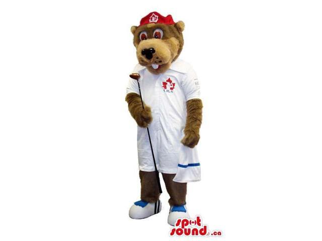 Brown Bear Plush Canadian SpotSound Mascot Dressed In White Golf Gear