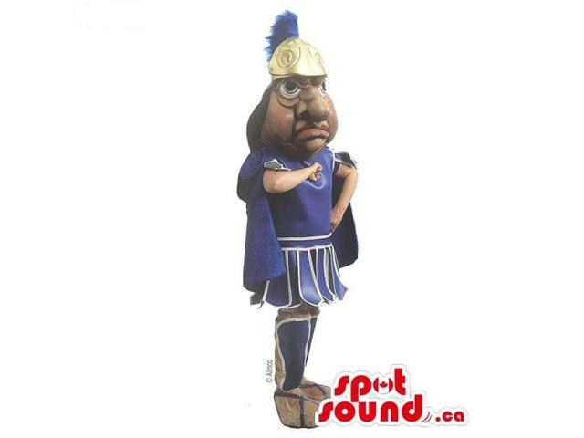 Ancient Roman Character Canadian SpotSound Mascot With A Blue Armour And Helmet