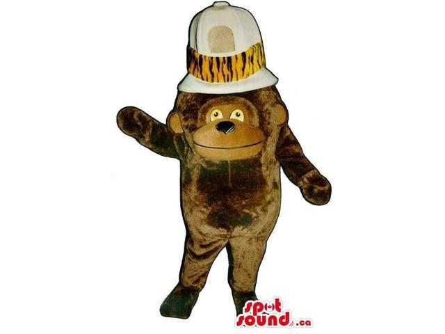 Customised Brown Monkey Plush Canadian SpotSound Mascot With A Huge Safari Hat