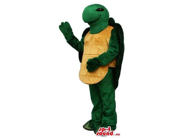 Customised Green Turtle Plush Canadian SpotSound Mascot With Yellow Shell