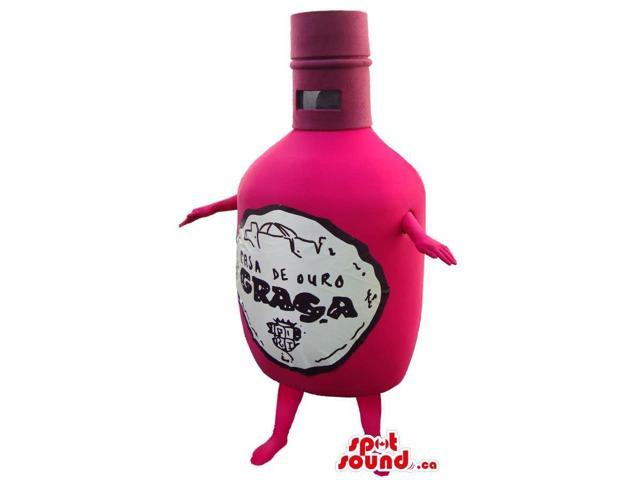 Pink Wine Bottle Plush Canadian SpotSound Mascot With Brand Name And No Face