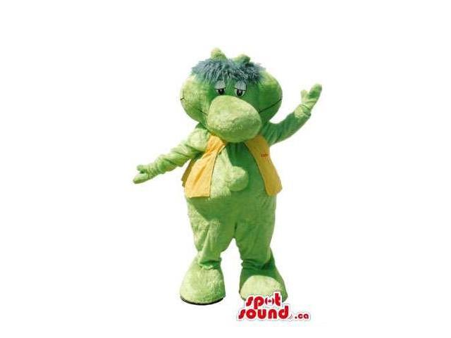 Cartoon Cute Green Dragon Plush Canadian SpotSound Mascot With A Yellow Vest