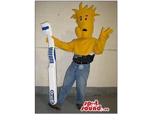 Yellow Canadian SpotSound Mascot With Spiky Hair Or Half Body Disguise
