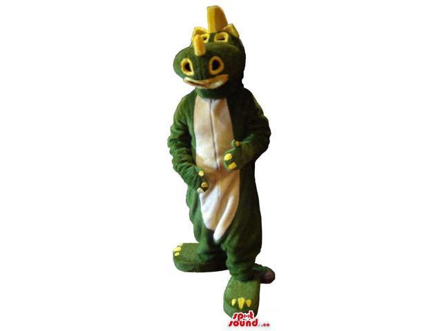 Cute Green And Yellow Dragon Plush Canadian SpotSound Mascot With A White Belly