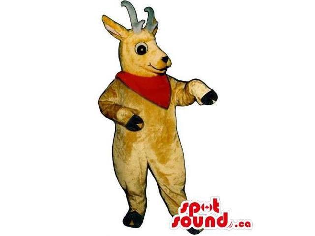 Light Brown Deer Animal Canadian SpotSound Mascot Dressed In A Red Neck Scarf