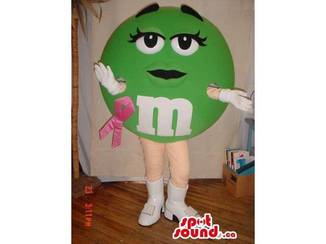 Green M&M'S Brand Name Canadian SpotSound Mascot With Breast Cancer Ribbon