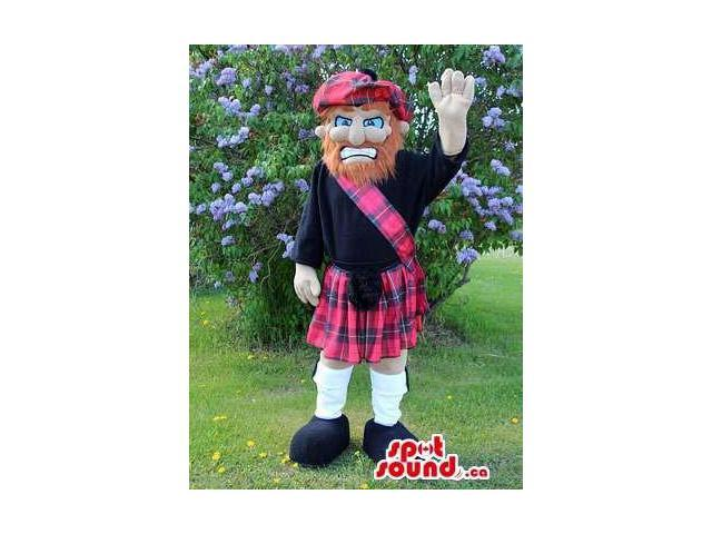 Scottish Man Canadian SpotSound Mascot With A Red Beard Dressed In A Kilt