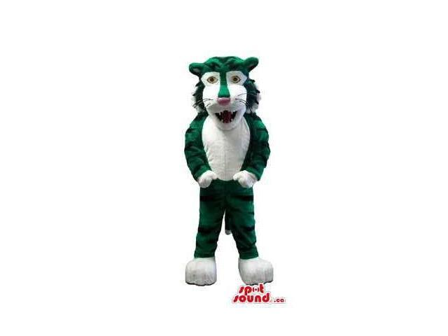 Green Wolf Plush Canadian SpotSound Mascot With A White Belly And Face