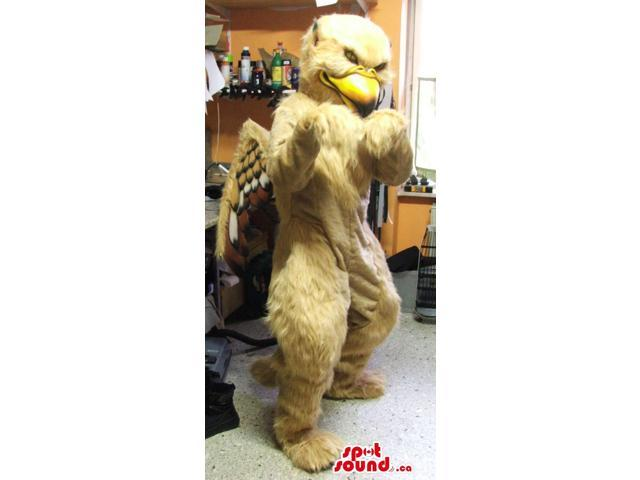 Beige Eagle Plush Canadian SpotSound Mascot With Varied Brown Tones Wings