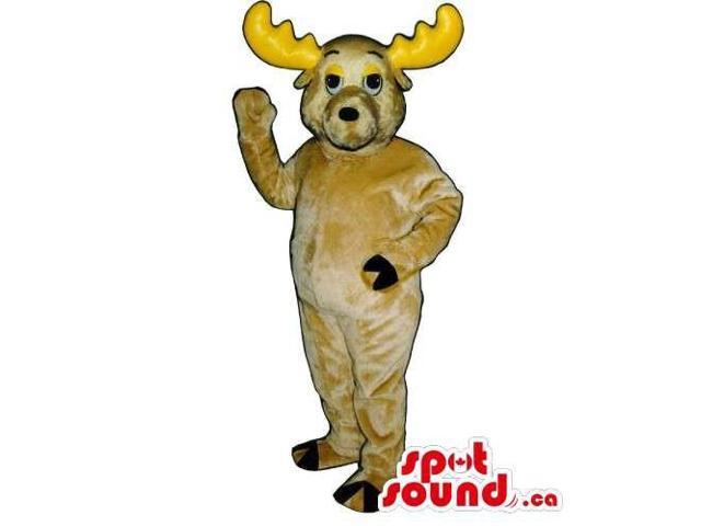 Customised All Beige Moose Animal Canadian SpotSound Mascot With Yellow Horns