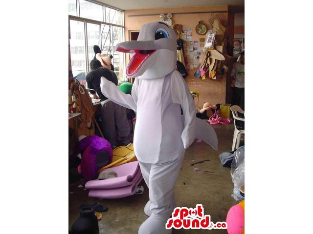 Cute Happy Grey Dolphin Canadian SpotSound Mascot With A Long Pink Mouth