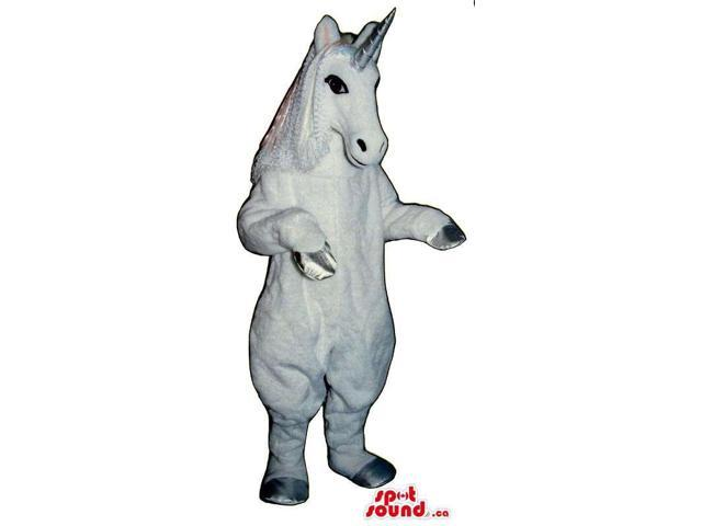 Customised All White Unicorn Canadian SpotSound Mascot With A Silver Horn