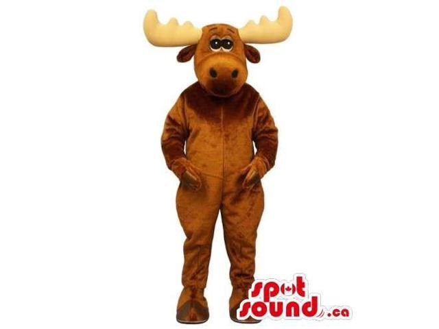 Customised All Brown Moose Animal Canadian SpotSound Mascot With Large Horns