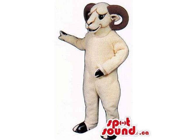 Customised White Moose Animal Canadian SpotSound Mascot With Curved Brown Horns