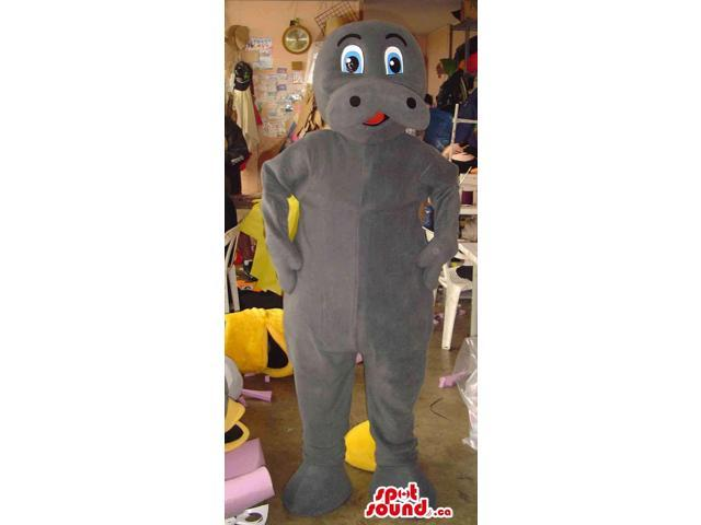 Cute All Grey Hippopotamus Canadian SpotSound Mascot With Cartoon Eyes