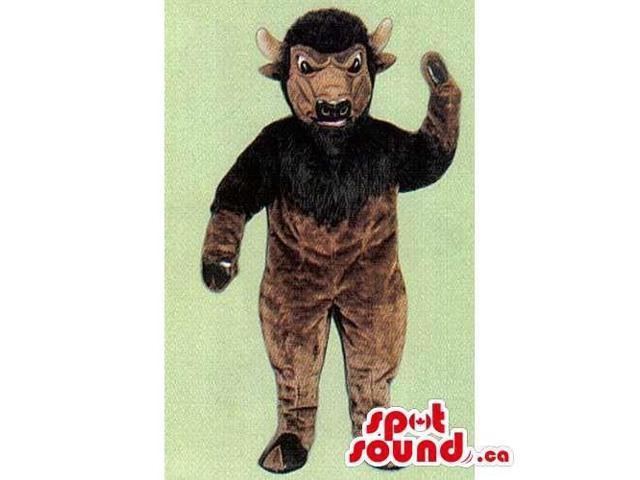 Dark Brown Bull Animal Canadian SpotSound Mascot With Beard And Angry Face