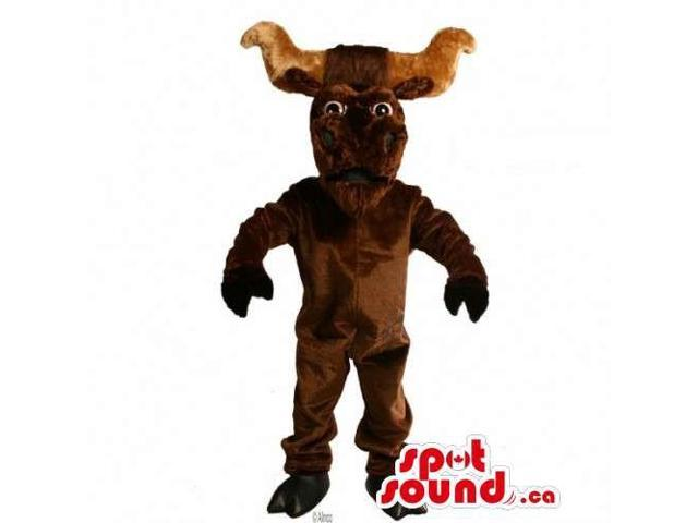 Customised All Dark Brown Buffalo With Large Horns