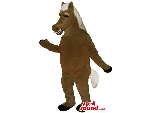 Customised Brown Horse Plush Canadian SpotSound Mascot With White Hair