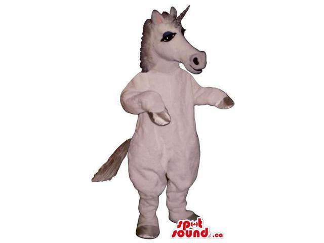 Customised White Unicorn Canadian SpotSound Mascot With A Silver Horn