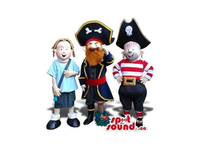 Three Human Plush Canadian SpotSound Mascots: A Girl And Various Pirates