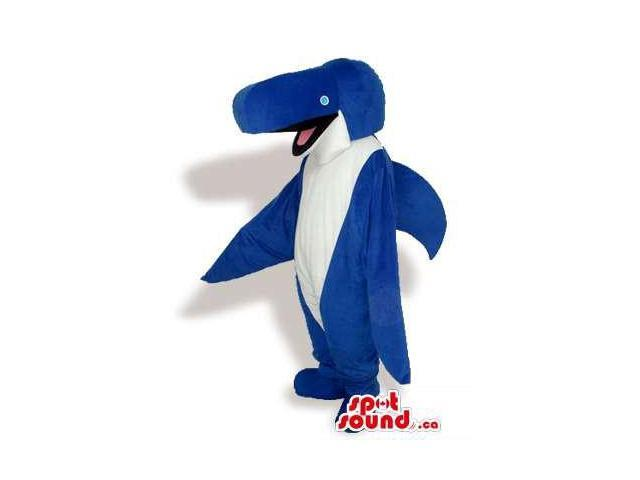 Customised Cute Blue And White Dolphin Plush Canadian SpotSound Mascot
