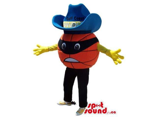 Huge Angry Basketball Plush Canadian SpotSound Mascot Dressed In A Blue Cowboy Hat