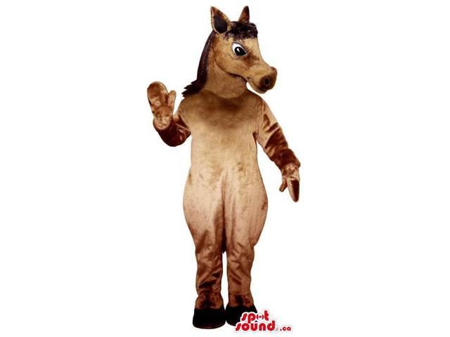 All Brown Horse Plush Canadian SpotSound Mascot With Black Eyes And Hair