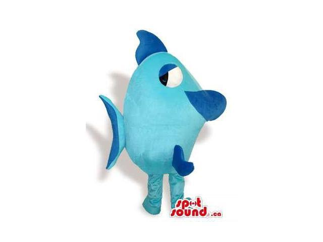 Cute Blue And Dark Blue Fish Canadian SpotSound Mascot With Large Eyes