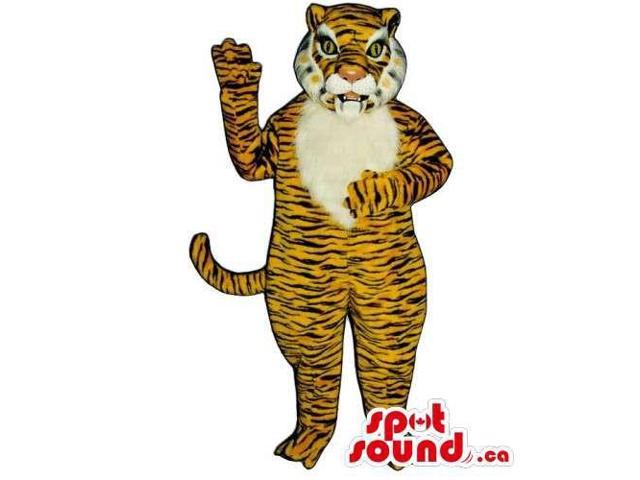Customised And All Orange Tiger Plush Animal Canadian SpotSound Mascot
