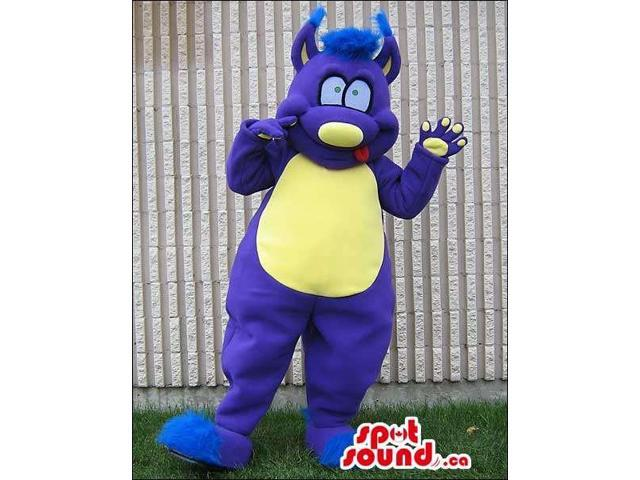 Purple Monster Character Plush Canadian SpotSound Mascot With A Yellow Belly
