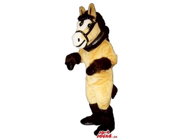 Customised Beige And Brown Horse Plush Canadian SpotSound Mascot Dressed In Reins