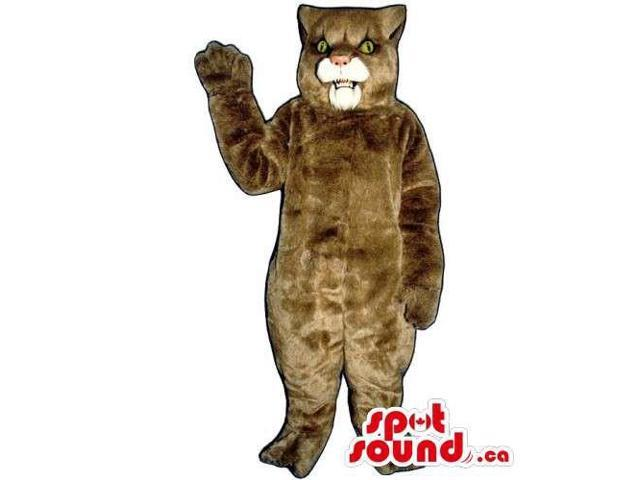 All Brown Wildcat Animal Canadian SpotSound Mascot With White Mouth