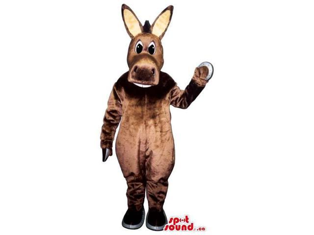 Customised All Brown Donkey Canadian SpotSound Mascot With Beige Ears